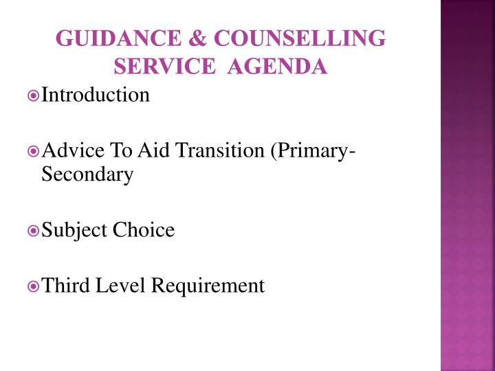 Guidance counselling service agenda