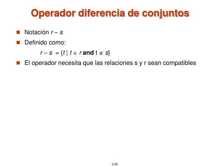 Operador diferencia de conjuntos