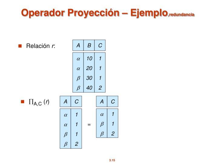 Operador Proyección – Ejemplo