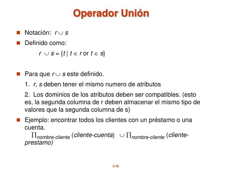 Operador Unión