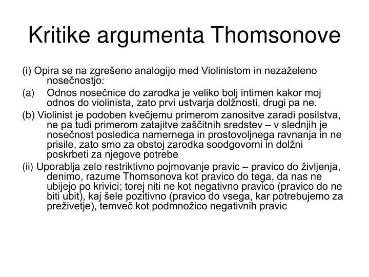 Kritike argumenta Thomsonove