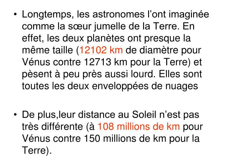 Longtemps, les astronomes l'ont imaginée comme la sœur jumelle de la Terre. En effet, les deux planètes ont presque la même taille (