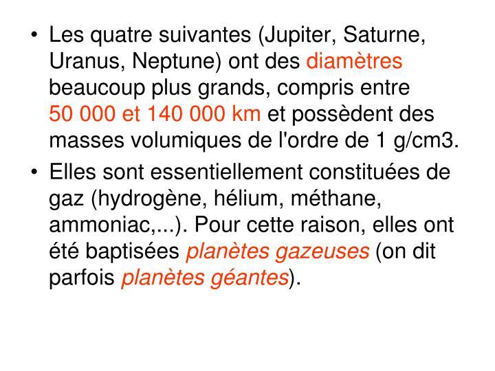 Les quatre suivantes (Jupiter, Saturne, Uranus, Neptune) ont des