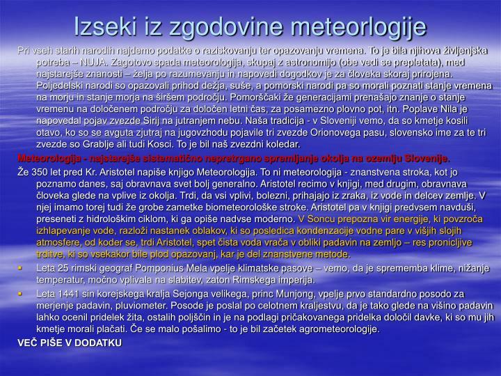Izseki iz zgodovine meteorlogije