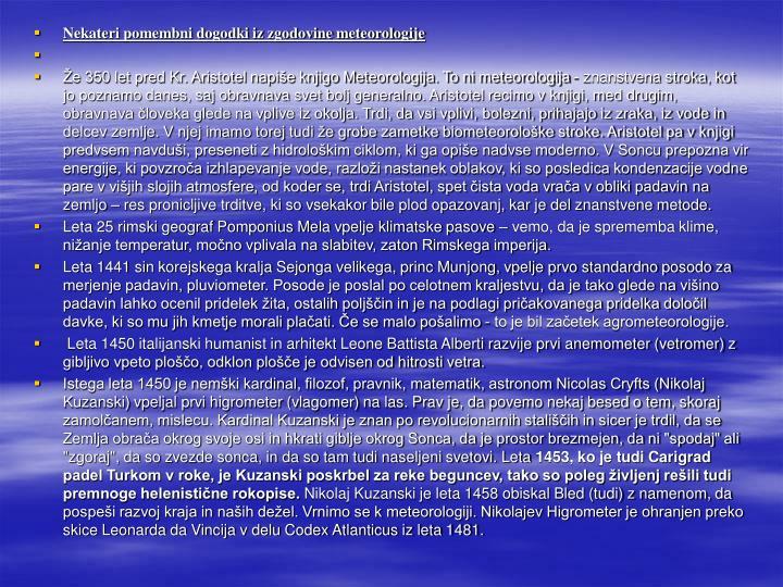 Nekateri pomembni dogodki iz zgodovine meteorologije