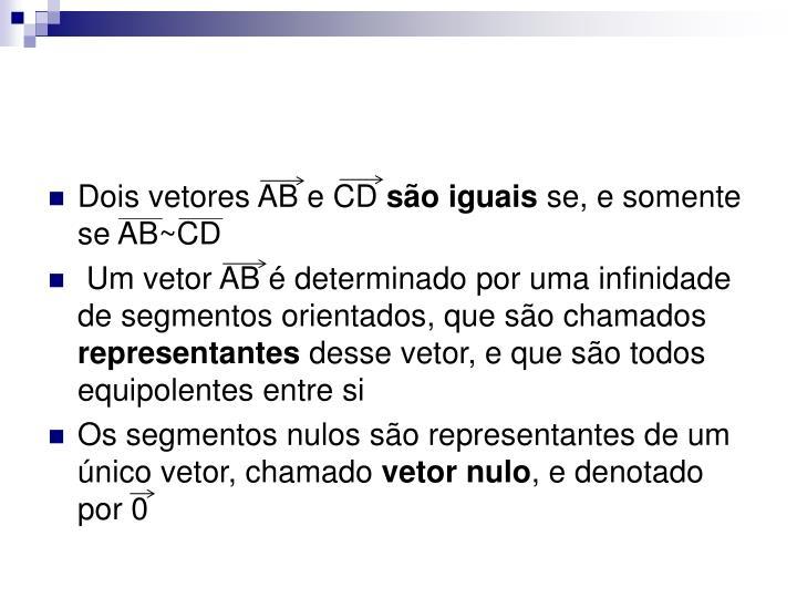 Dois vetores AB e CD