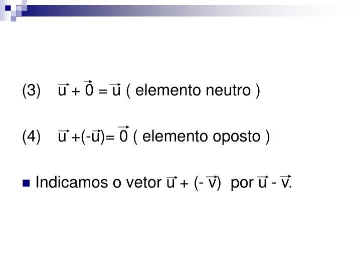 (3)u + 0 = u ( elemento neutro )