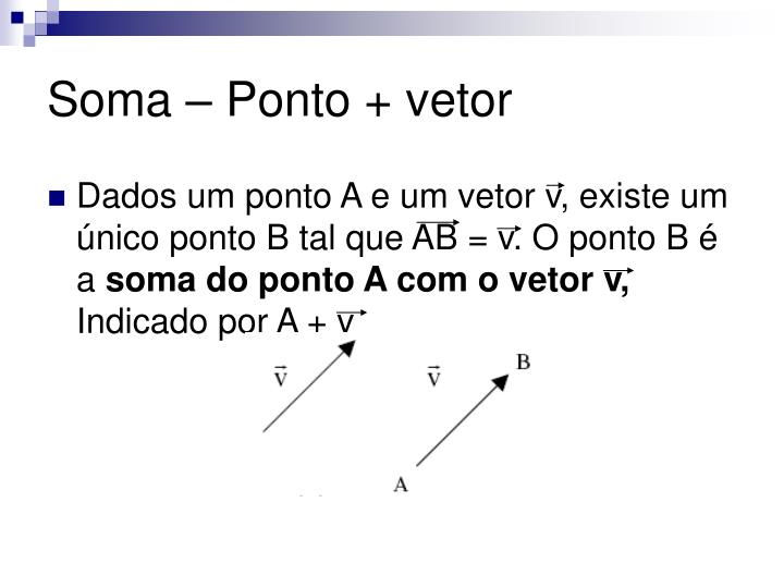 Soma – Ponto + vetor