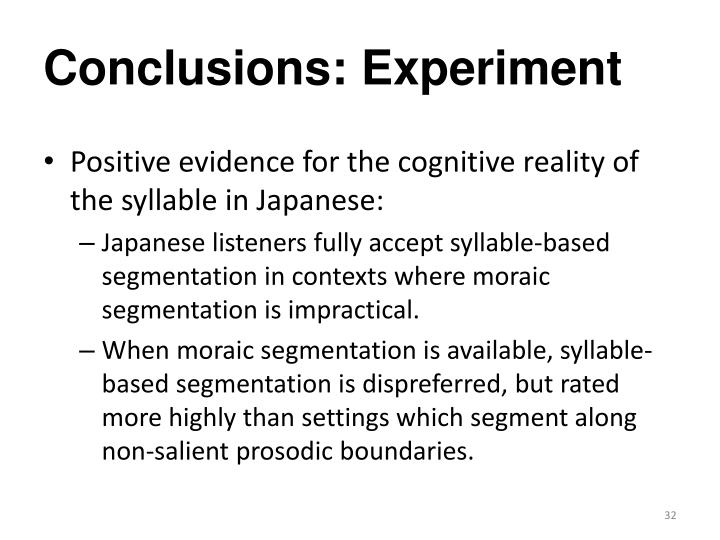 Conclusions: Experiment