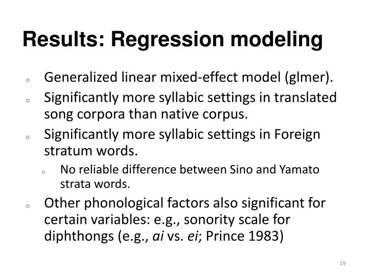 Results: Regression modeling