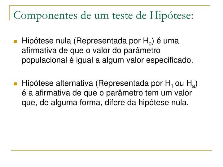 Componentes de um teste de Hipótese: