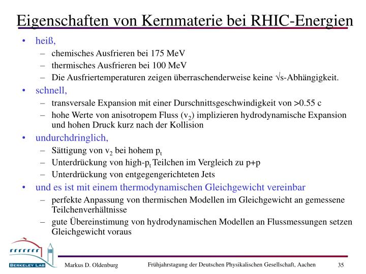 Eigenschaften von Kernmaterie bei RHIC-Energien
