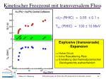 kinetischer freezeout mit transversalem fluss