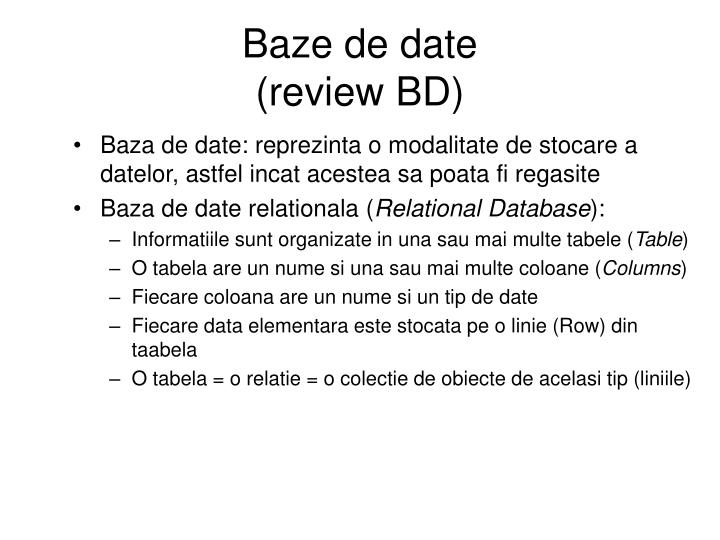 Baze de date review bd