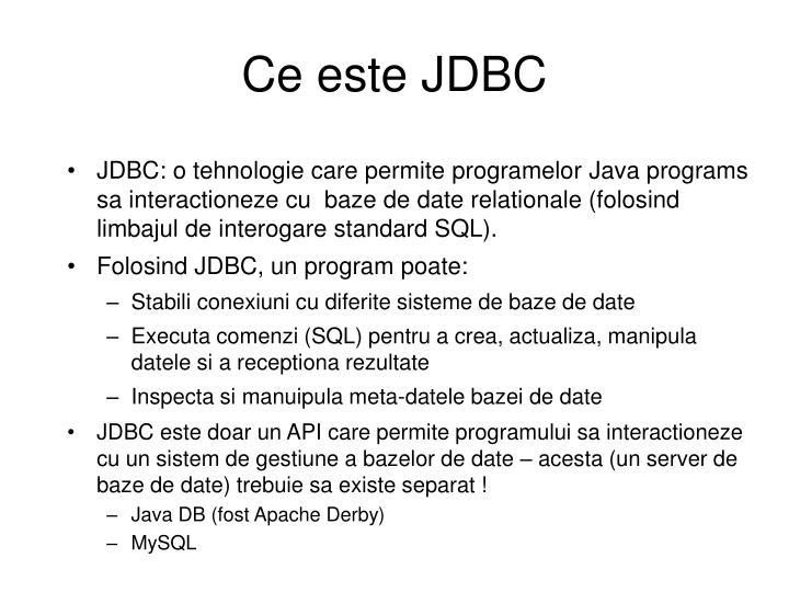 Ce este JDBC