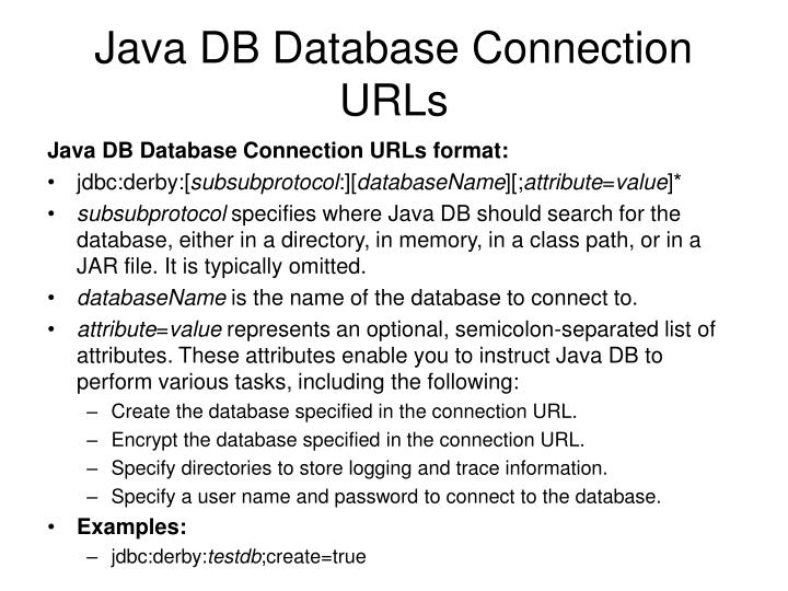 Java DB Database Connection URLs
