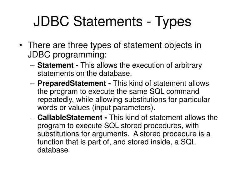 JDBC Statements - Types