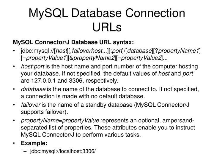 MySQL Database Connection URLs