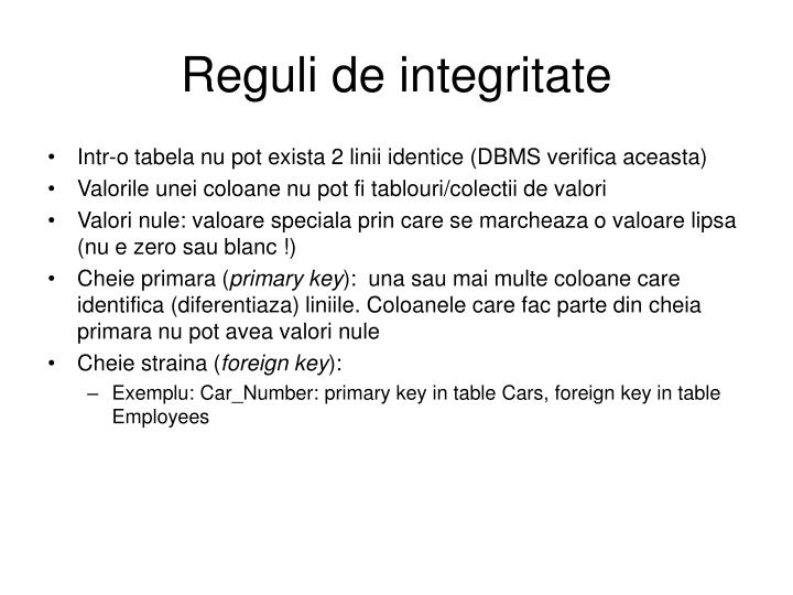 Reguli de integritate
