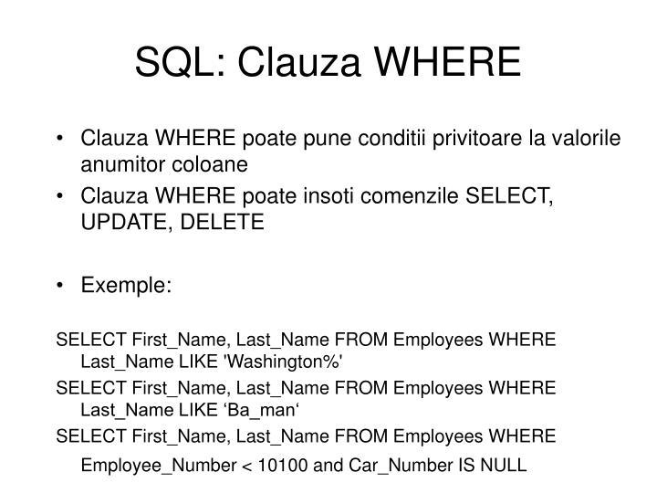 SQL: Clauza WHERE