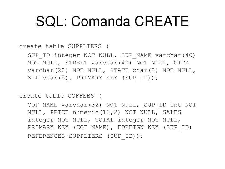 SQL: Comanda CREATE
