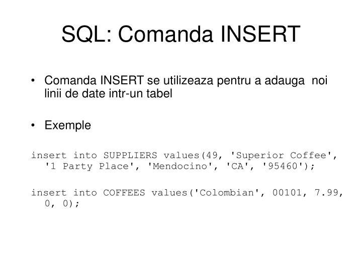 SQL: Comanda INSERT