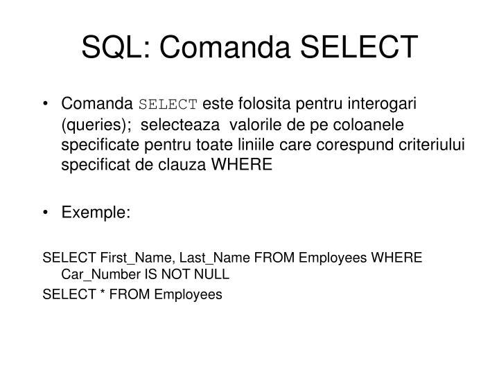 SQL: Comanda SELECT