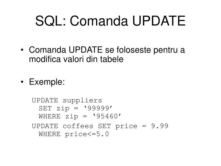 SQL: Comanda UPDATE