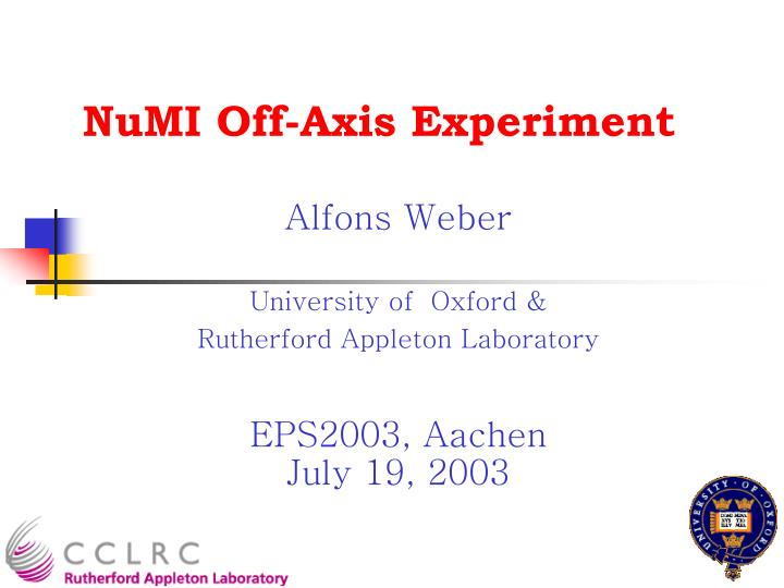 NuMI Off-Axis Experiment