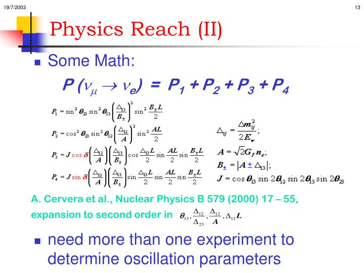 Physics Reach (II)