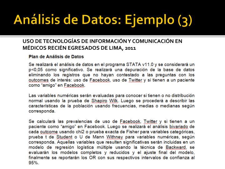 Análisis de Datos: Ejemplo (3)
