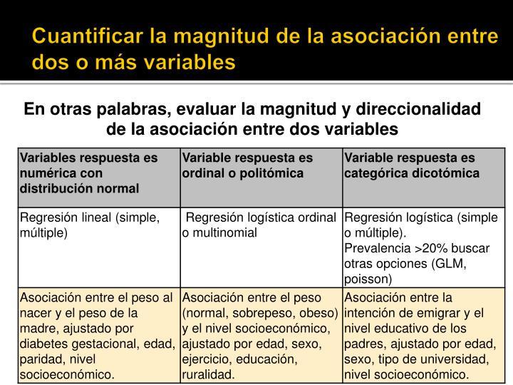 Cuantificar la magnitud de la asociación entre dos o más variables