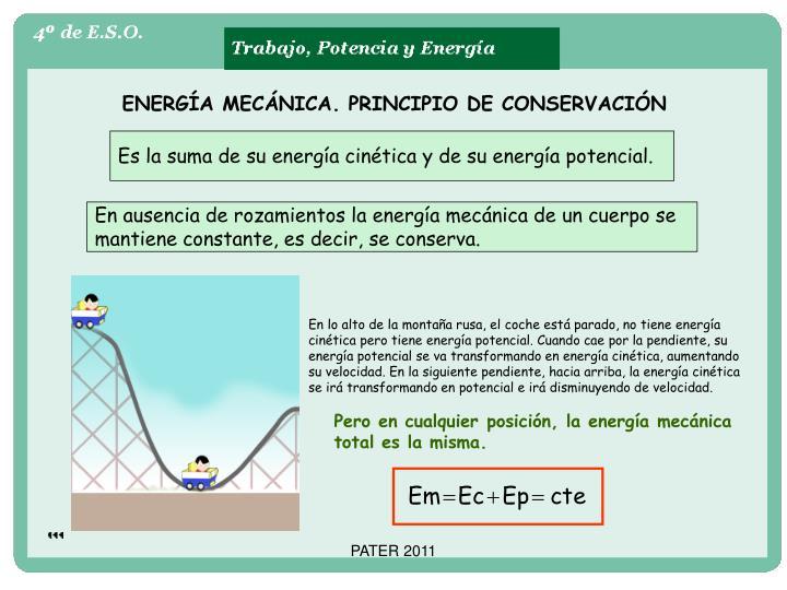 ENERGÍA MECÁNICA. PRINCIPIO DE CONSERVACIÓN
