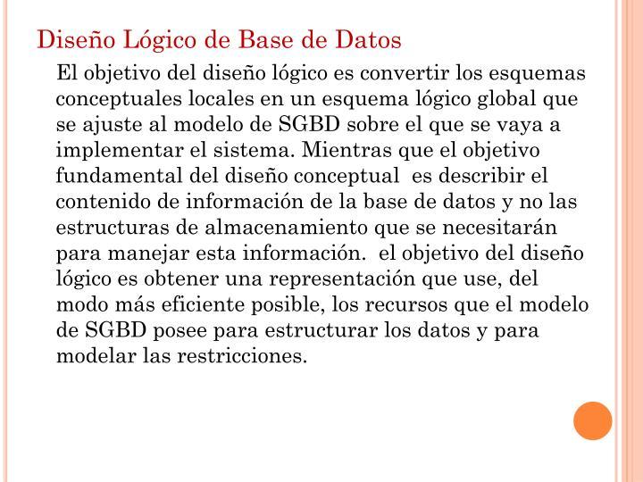 Diseño Lógico de Base de Datos