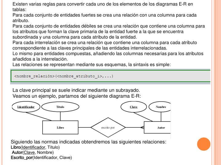 Existen varias reglas para convertir cada uno de los elementos de los diagramas E-R en tablas:
