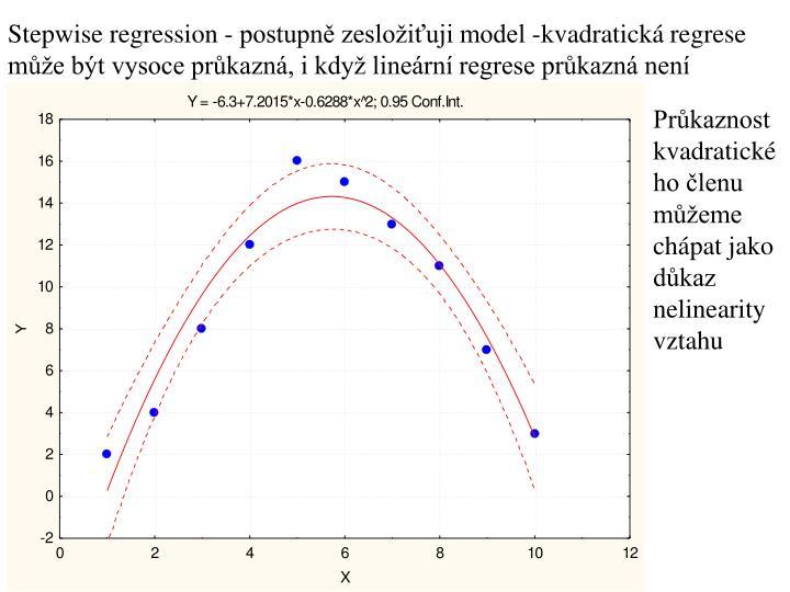 Stepwise regression - postupně zesložiťuji model -kvadratická regrese může být vysoce průkazná, i když lineární regrese průkazná není
