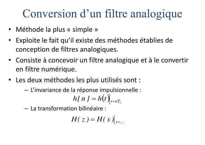 Conversion d'un filtre analogique