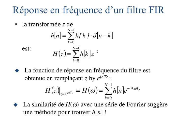 Réponse en fréquence d'un filtre FIR