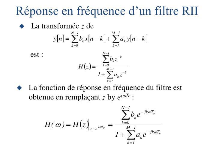 Réponse en fréquence d'un filtre RII