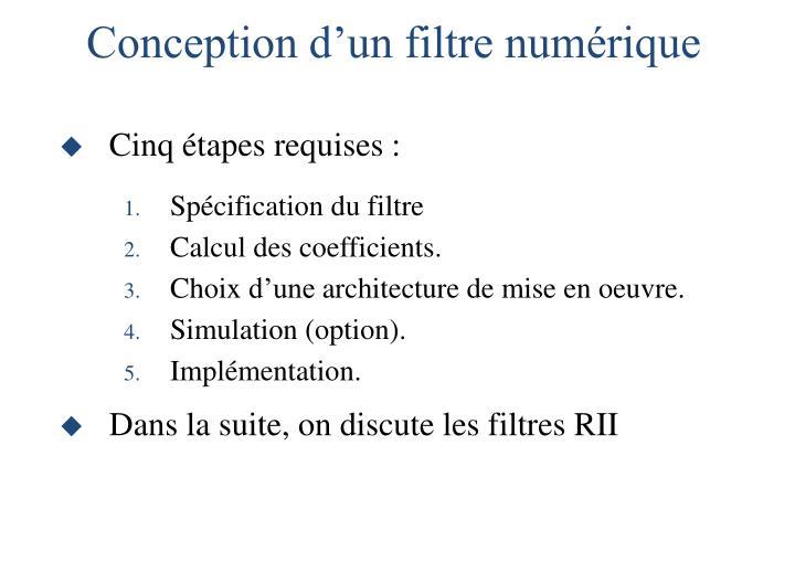 Conception d'un filtre numérique