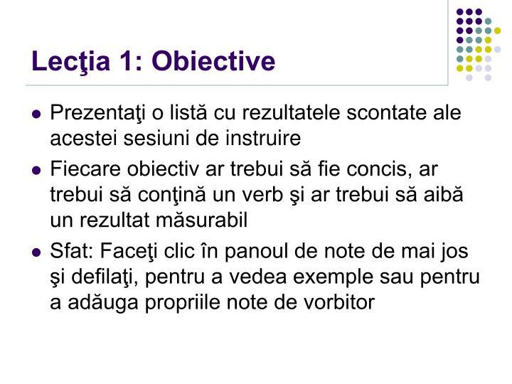 Lecţia 1: Obiective