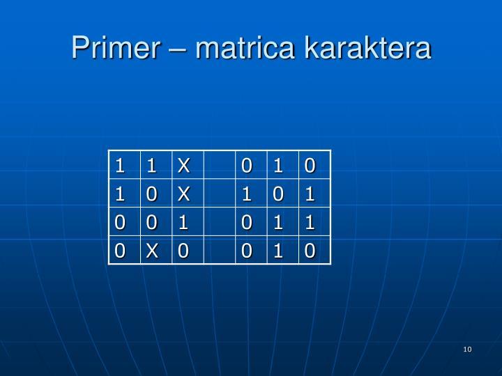 Primer – matrica karaktera