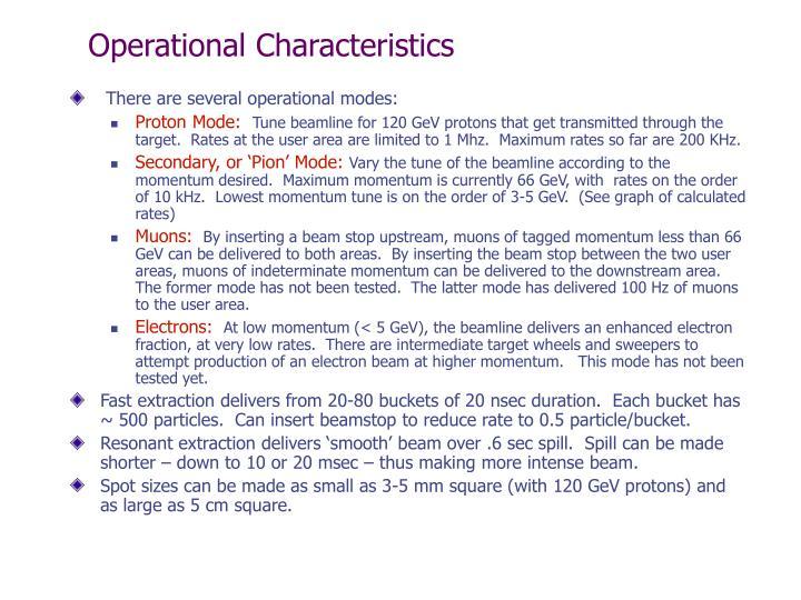 Operational Characteristics
