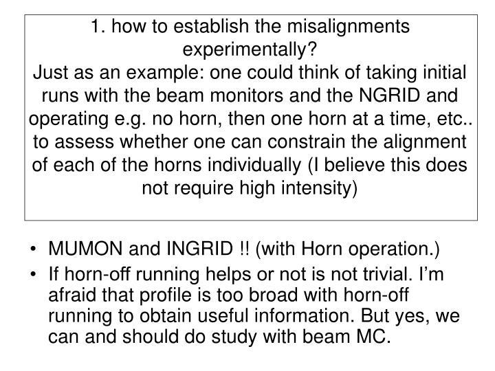 1. how to establish the misalignments experimentally?
