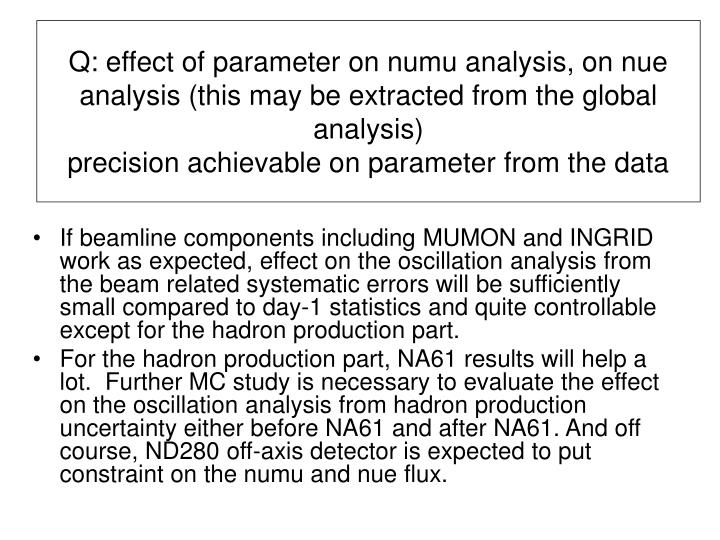 Q: effect of parameter on numu analysis, on nue analysis (this may be extracted from the global analysis)