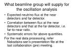 what beamline group will supply for the oscillation analysis
