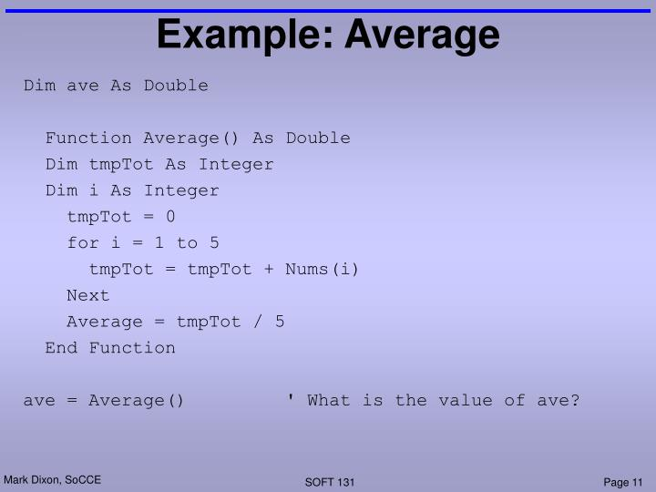 Example: Average