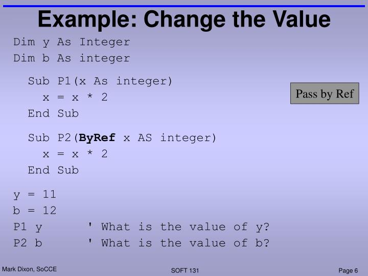 Example: Change the Value
