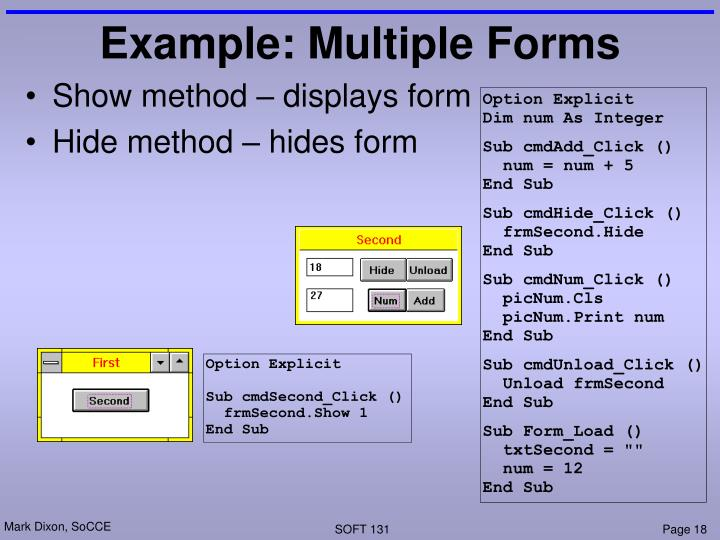 Example: Multiple Forms