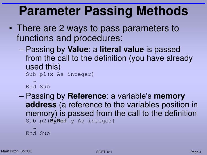 Parameter Passing Methods